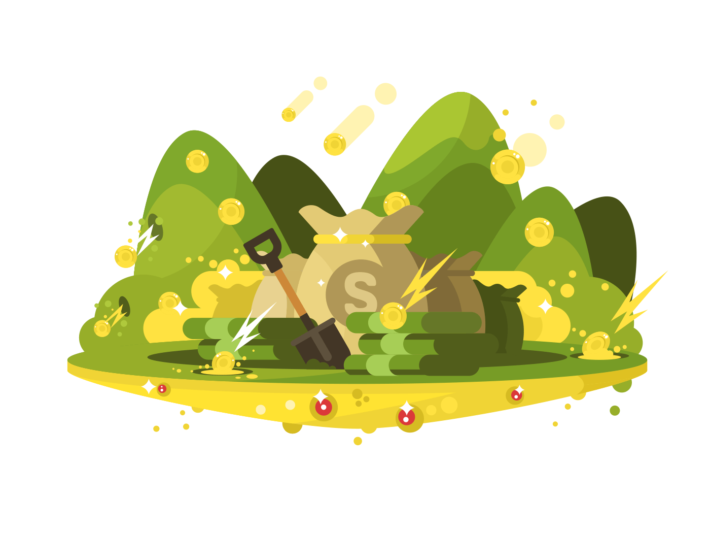 Treasure, a bag of gold coins illustration