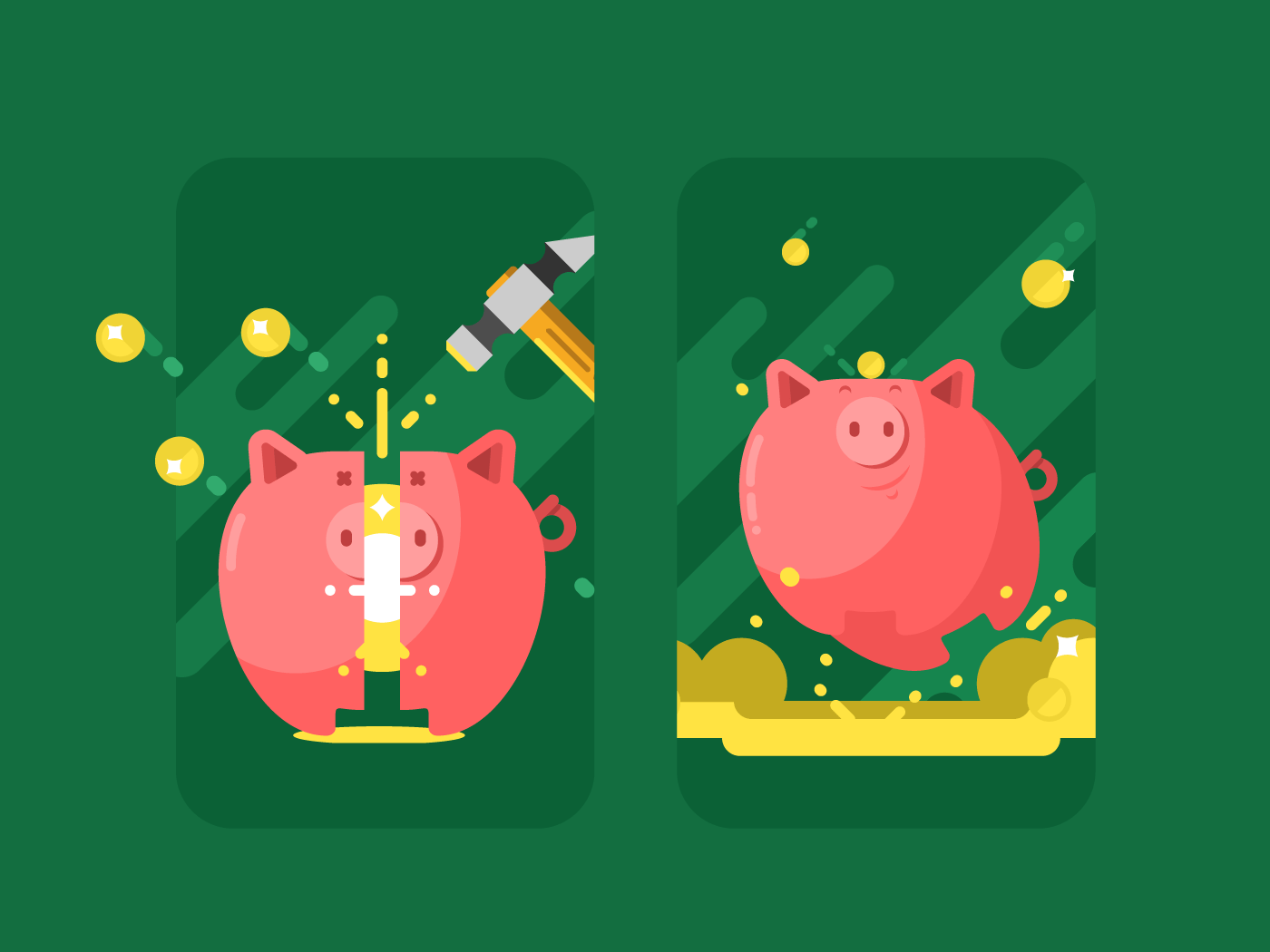 Piggy bank with money flat vector illustration