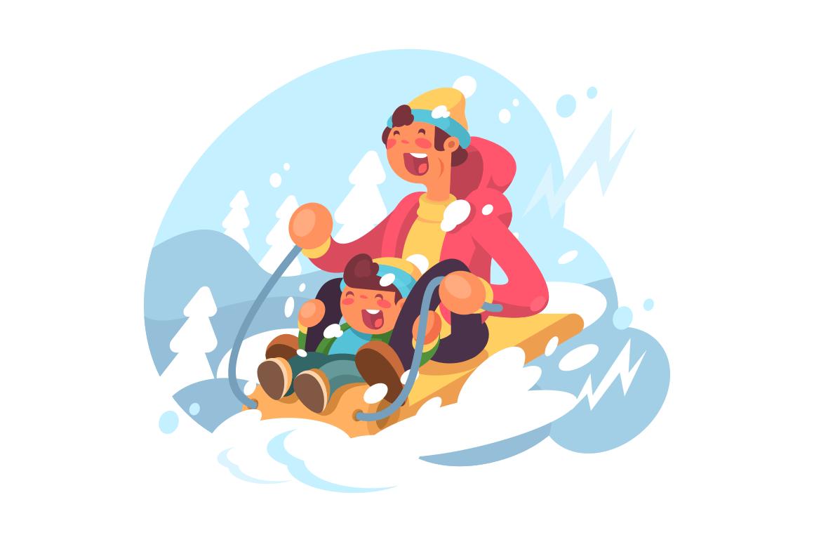 Dad and son sledding illustration