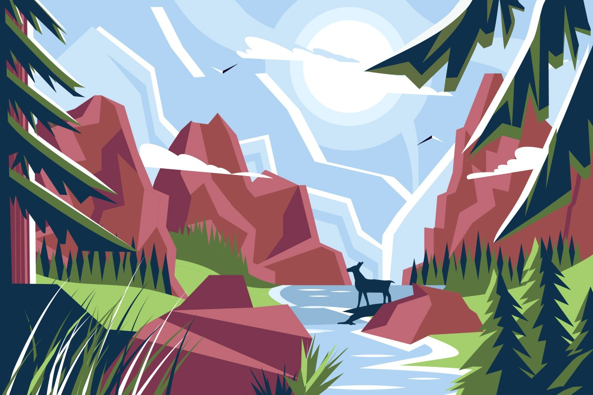 Picturesque mountain landscape vector illustration. Wonderful natural scenery with river, green grass, pine trees, stone hills, blue sky and bright sun flat style concept
