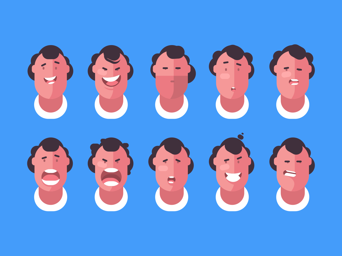 Emotions faces man. Joy and anger, surprise and sadness. Vector illustration