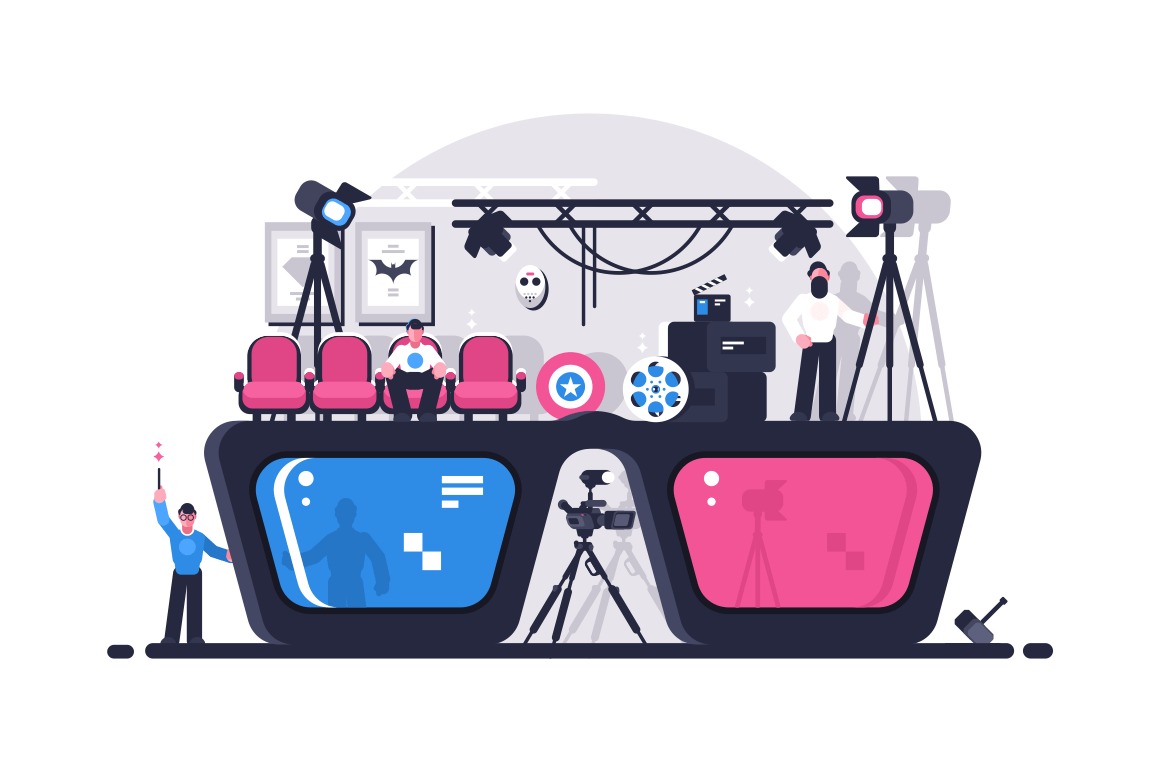 Movie 3d glasses vector illustration. Giant cinema googles with different lens of various color. Few people sitting and walking near big spectacles flat style design. Film night concept