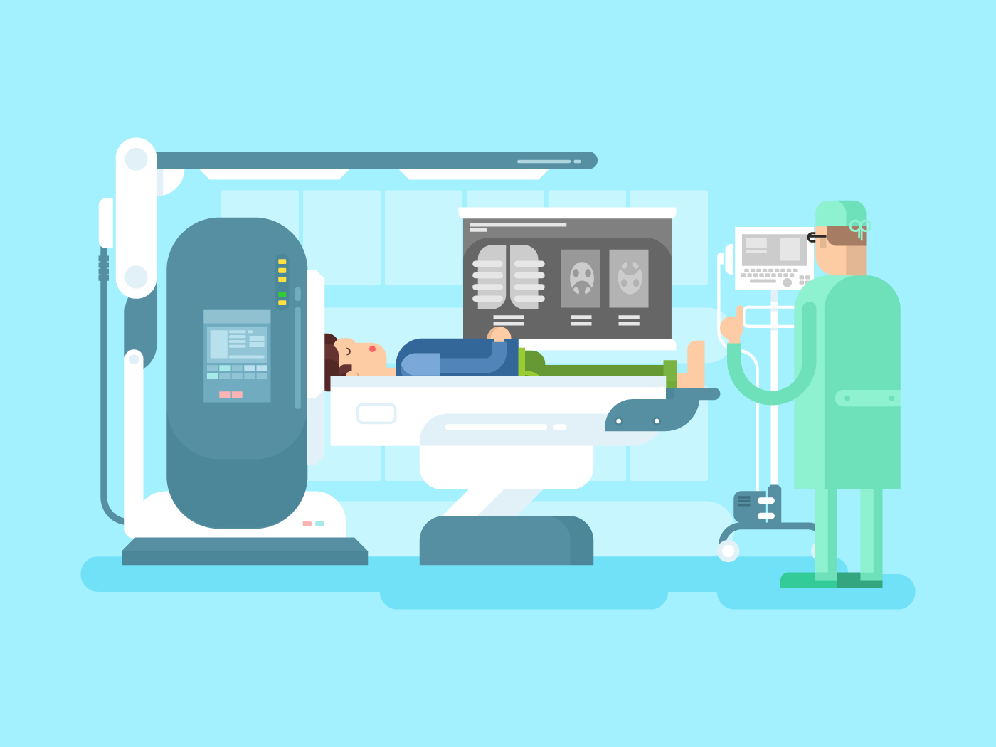 Cabinet with an MRI device flat vector illustration