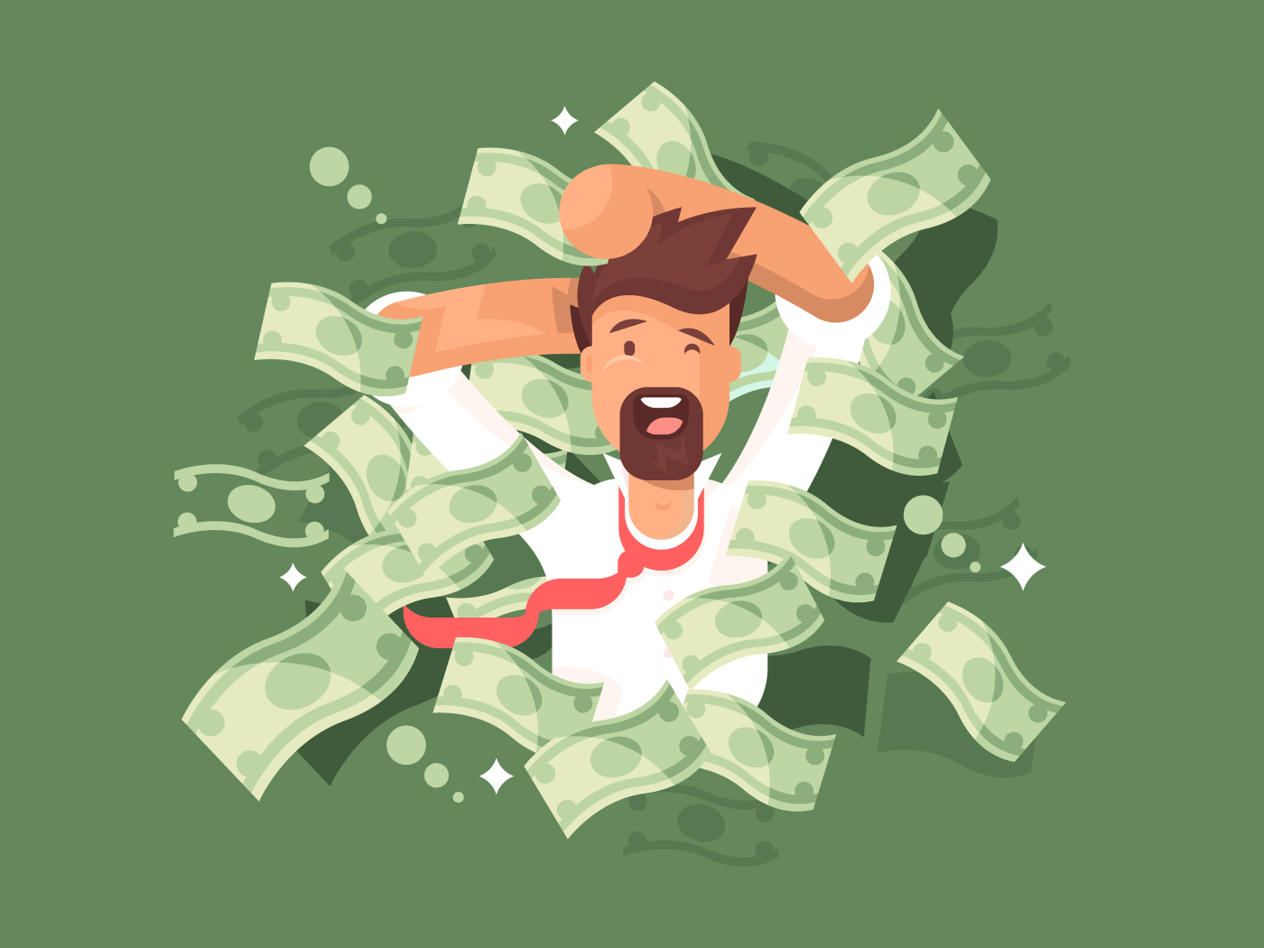 Man in a pile of money flat vector illustration