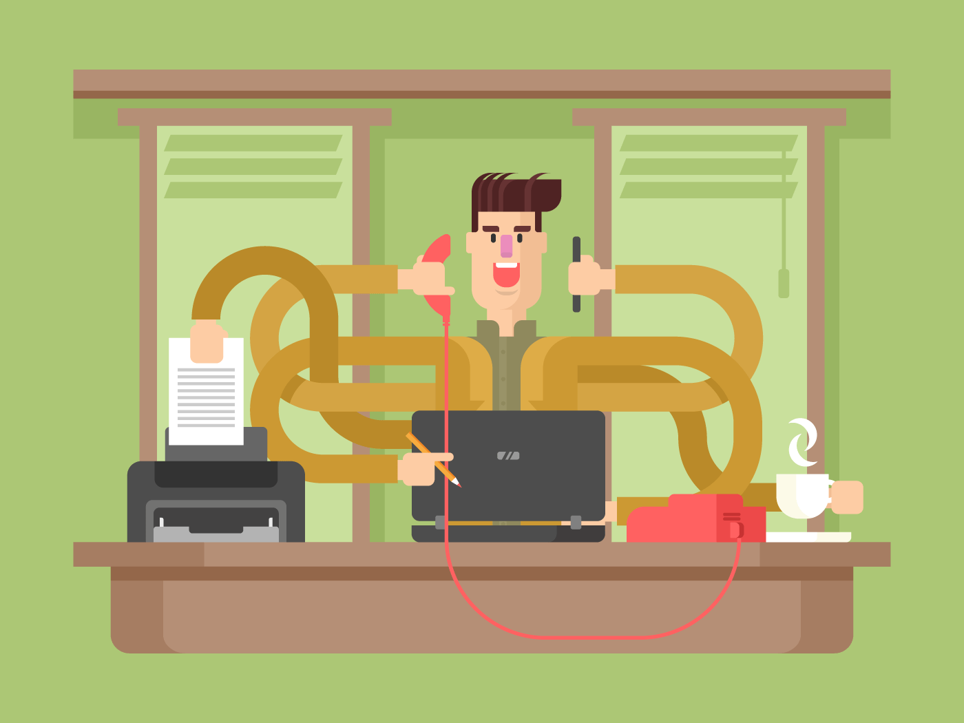 Man office worker multitasking flat vector illustration