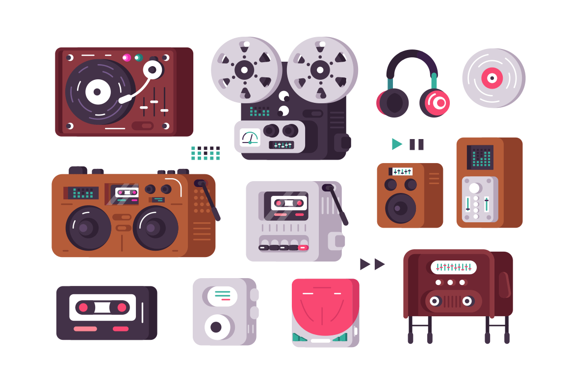 Music players set vector illustration. Collection consist of vintage and present-day record-player from retro gramophone to modern analogues flat style concept. Isolated on white