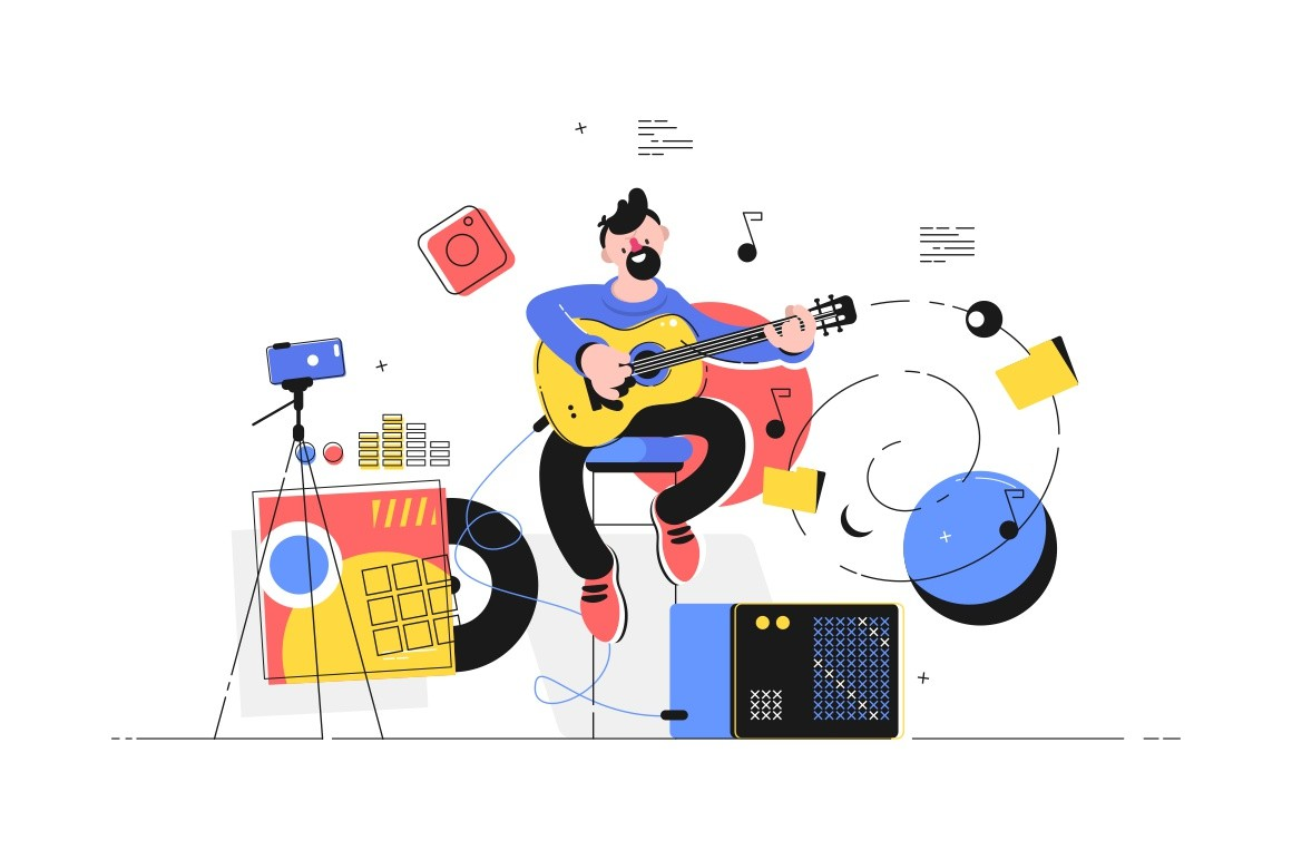 Man playing electric guitar vector illustration. Guy recording music in studio flat style design. Talented musician making video for vlog. Composer writing song for subscribers