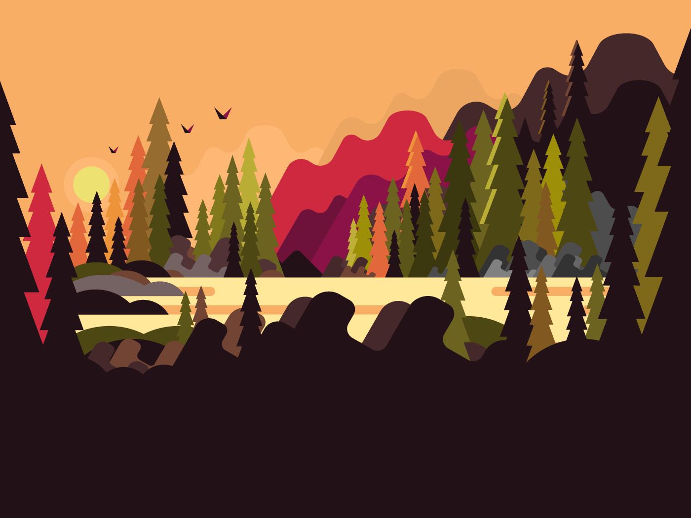 Landscape forest flat vector illustration