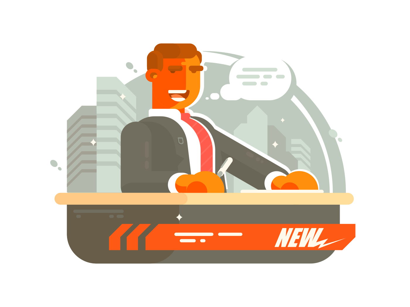 Television news presenter illustration