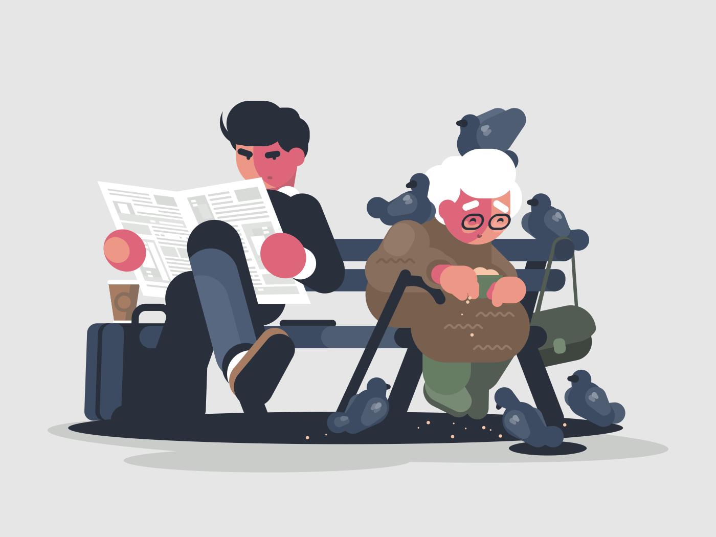 Businessman reading newspaper on park bench. Grandmother feeds pigeons. Vector illusration
