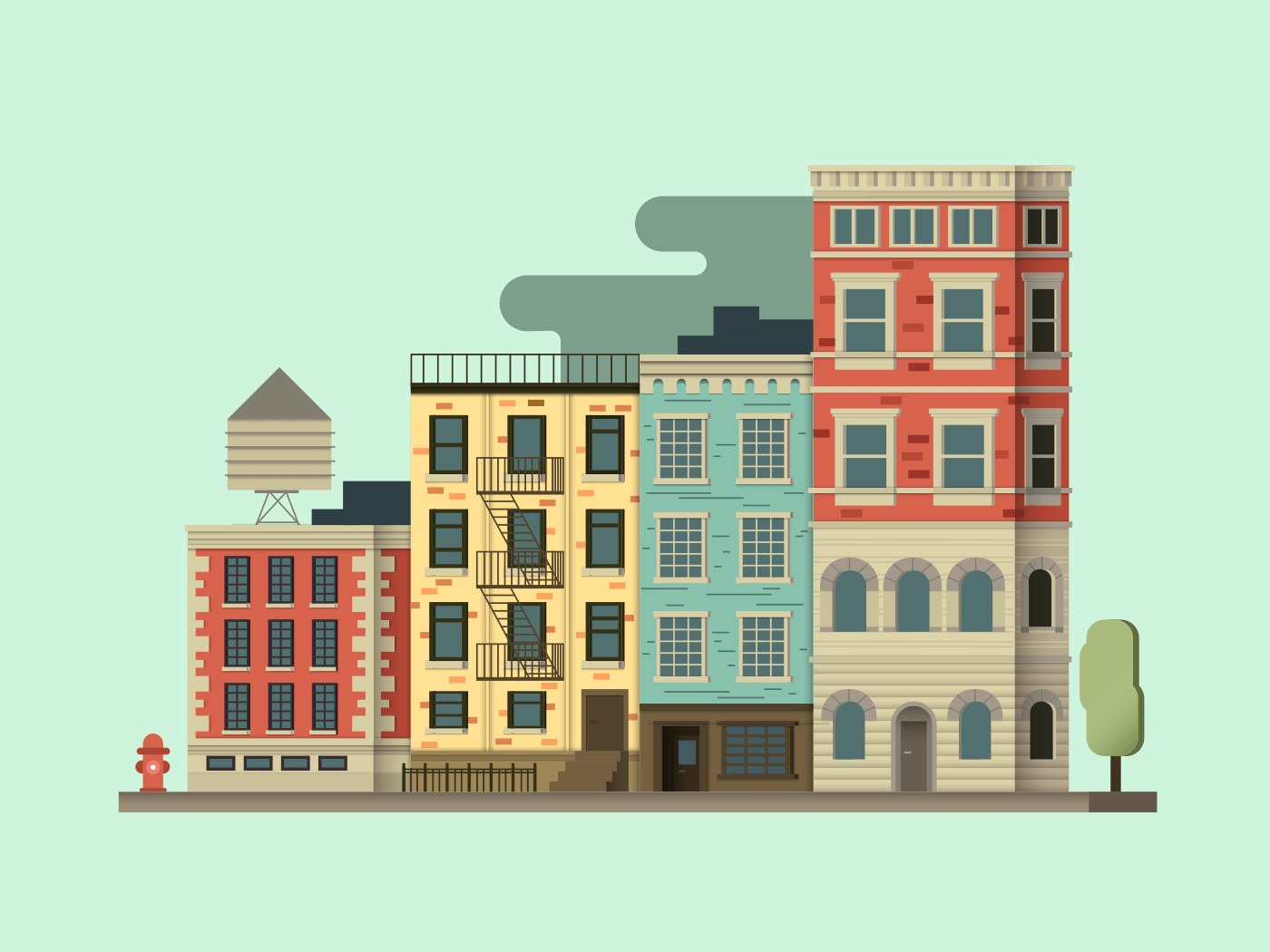 New york city building illustration