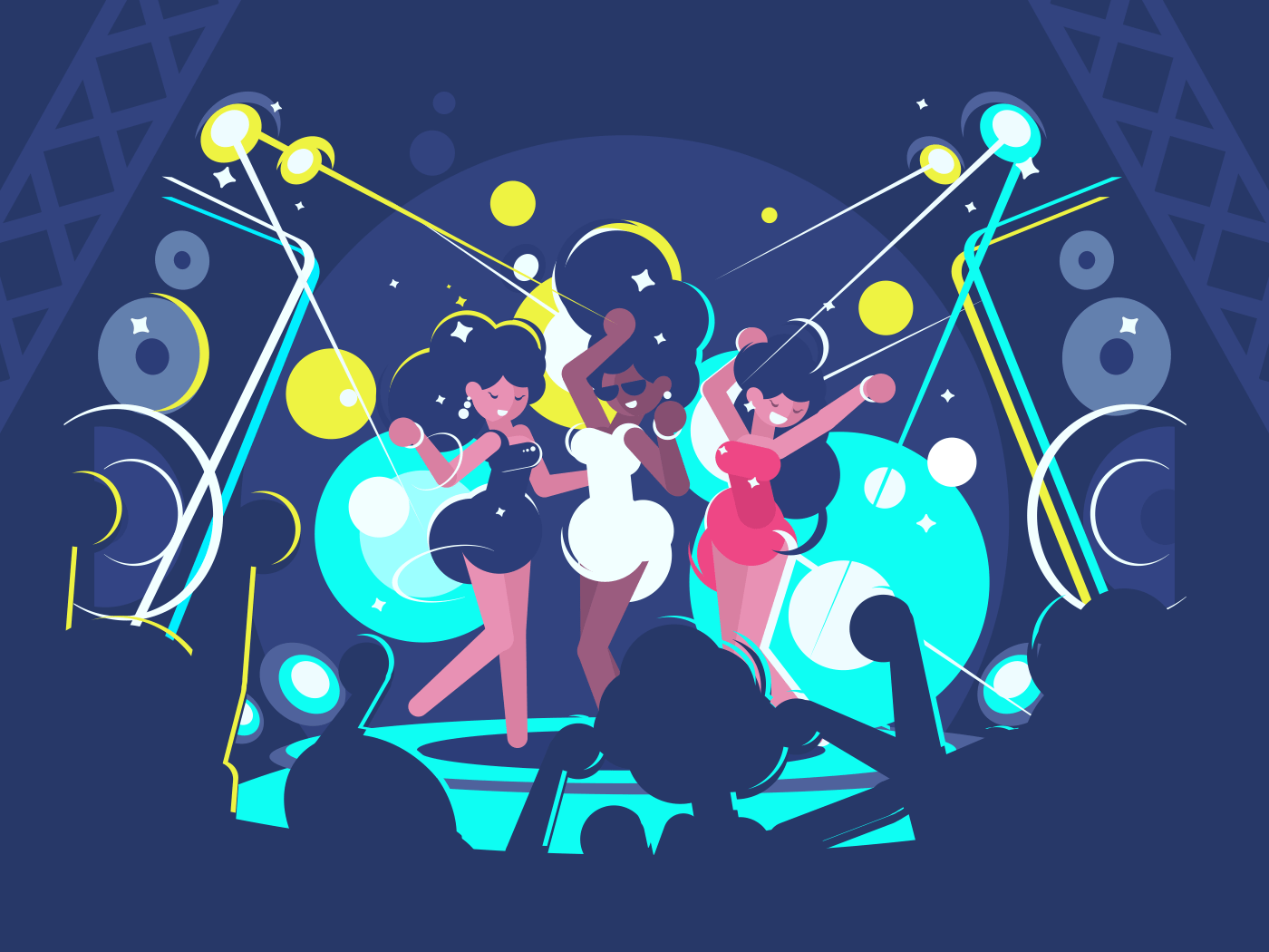 Beautiful girls dancing on dance floor in nightclub. Vector illustration