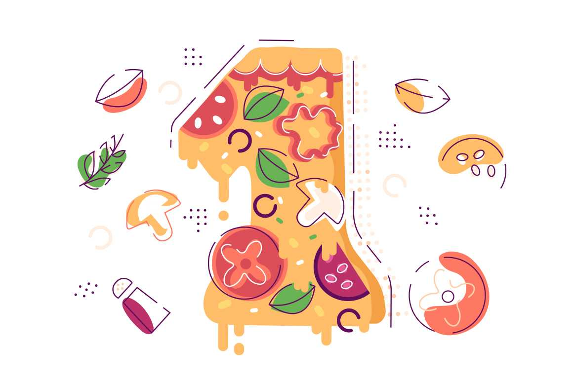Number one decorated as piece of yummy pizza vector illustration. Slice of mushroom tomato cheese and onion flat style. Delicious snack concept. Isolated on white background