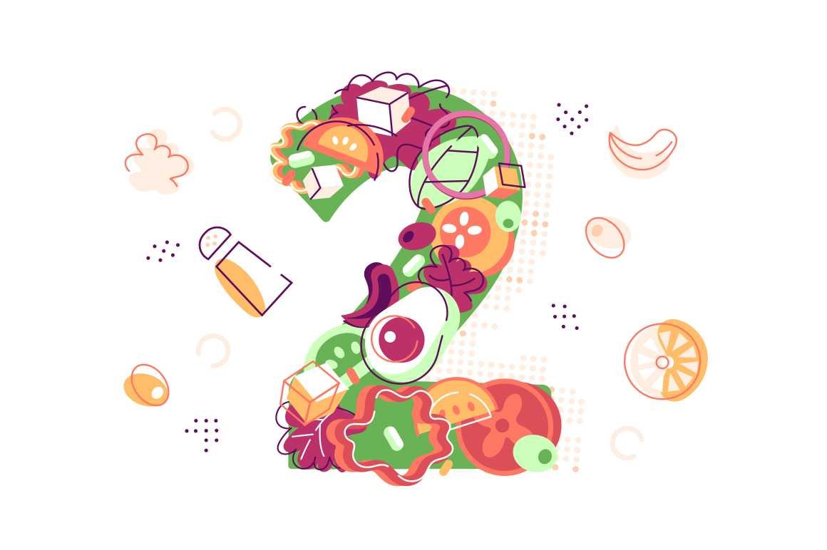 Number two covered with juicy fresh vegetables vector illustration. Feta cheese red pepper onion tomato avocado and lettuce flat style. Tasty meal for breakfast concept. Isolated on white background