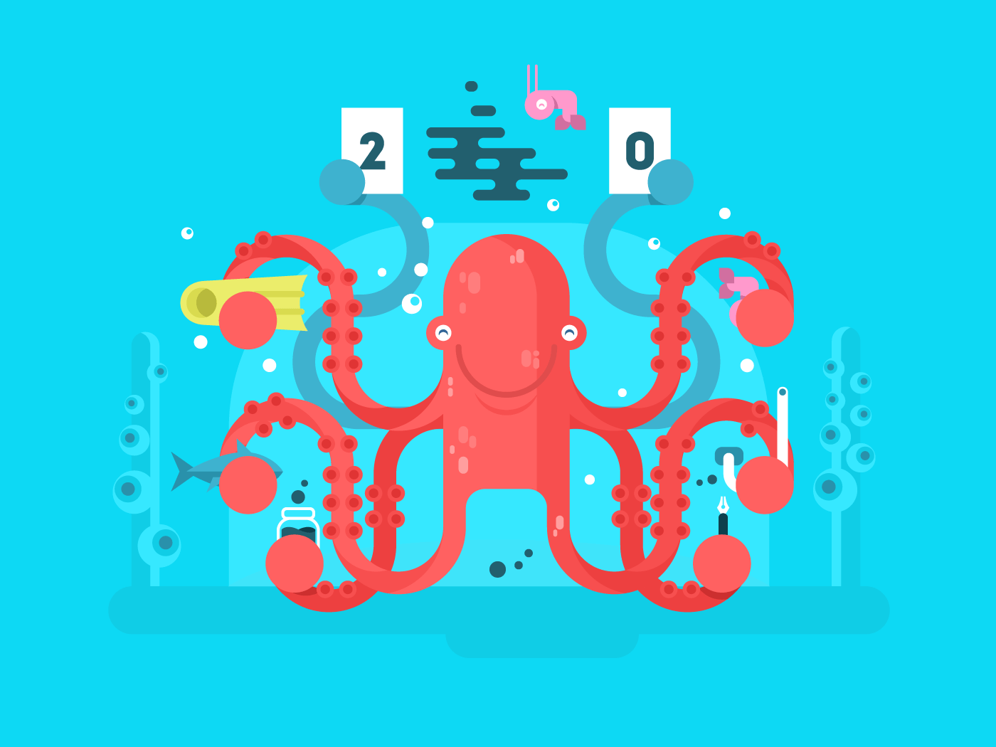 Octopus character flat vector illustration