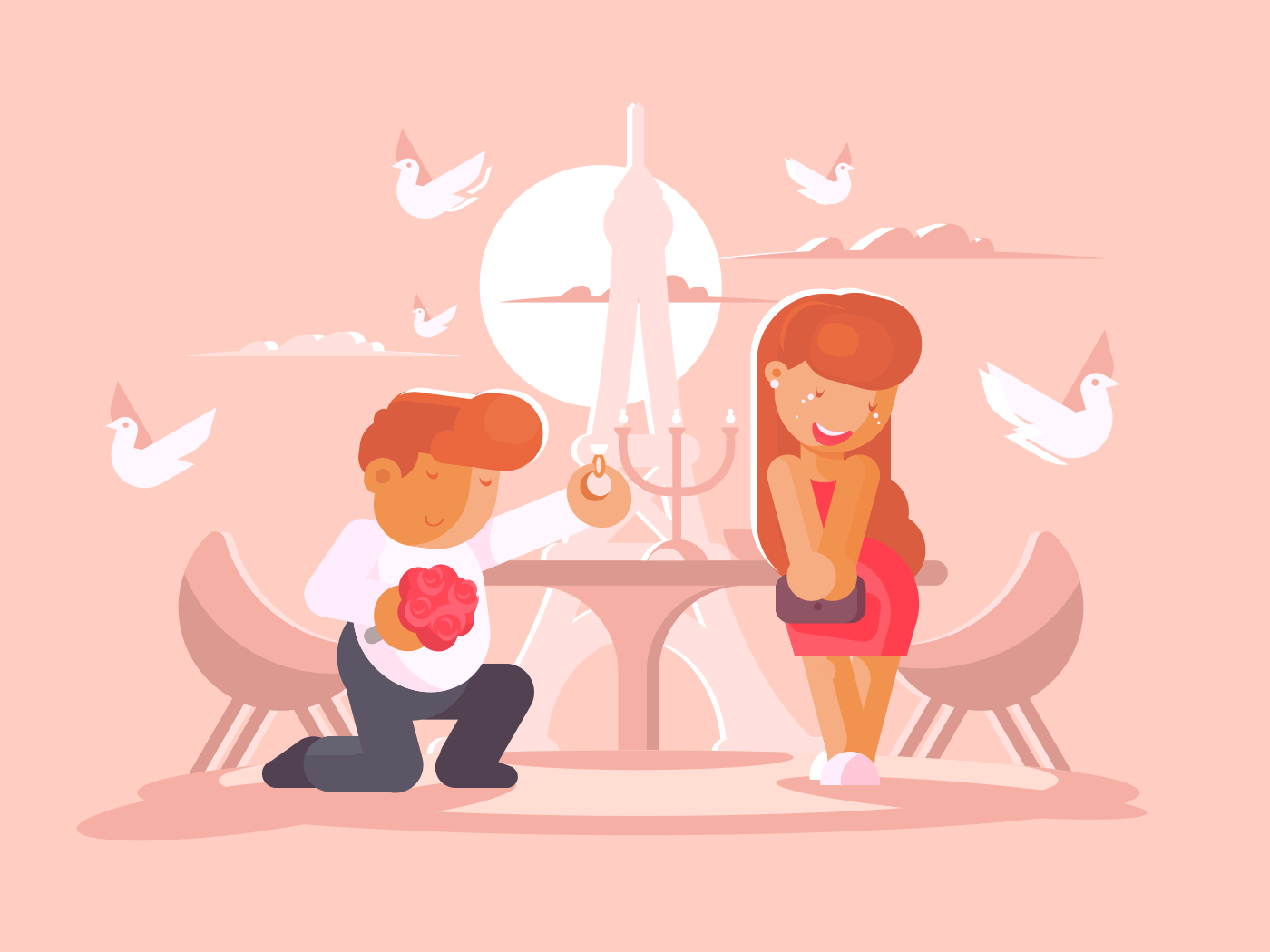 Young guy proposes to marry girlfriend illustration
