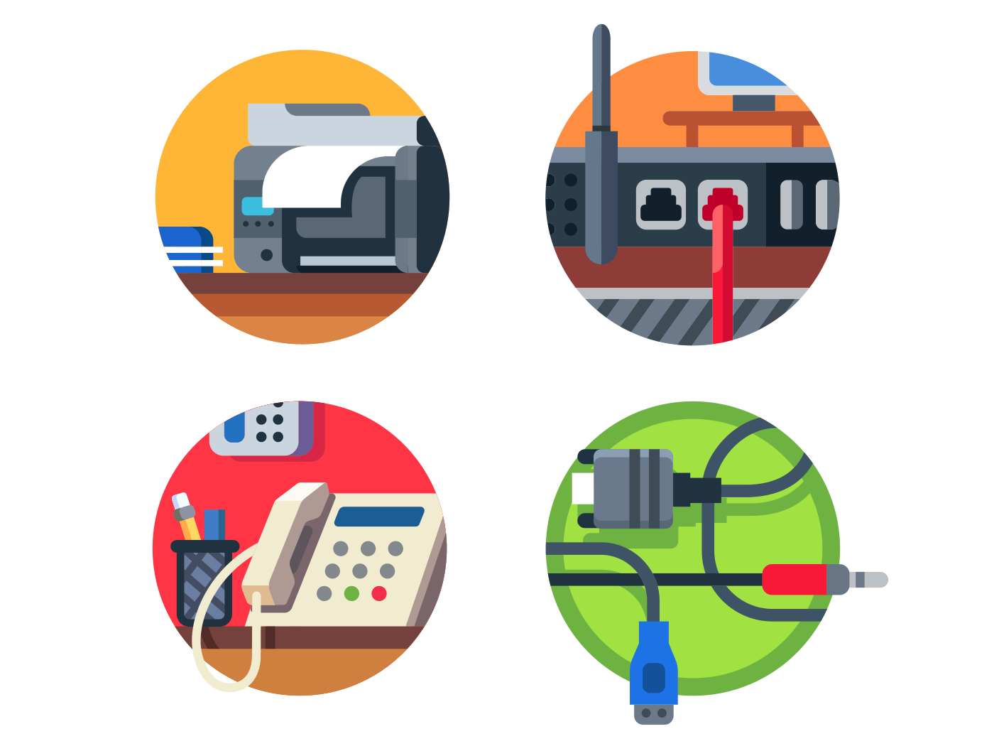 Office equipment set icons