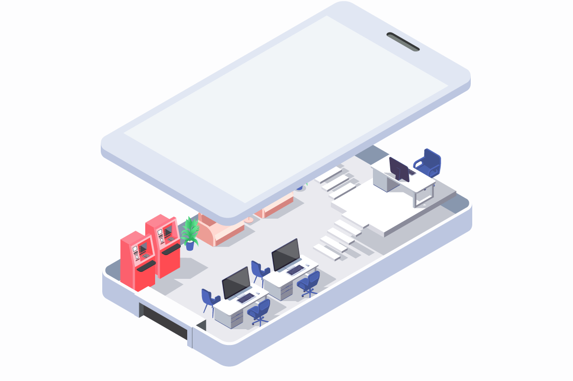 Isometric 3d office in phone with atm and mobile computers.