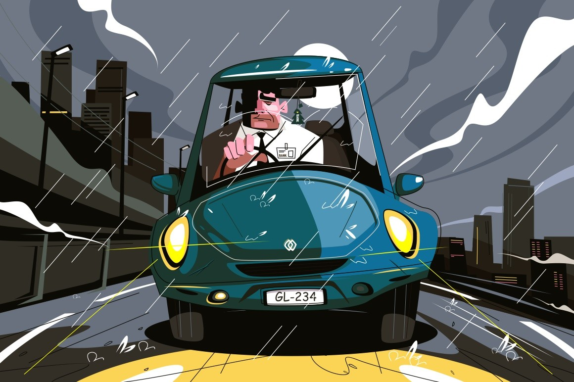 Office worker in car vector illustration. Manager going by auto at home under rainfall in late evening flat style concept. City landscape in dark night