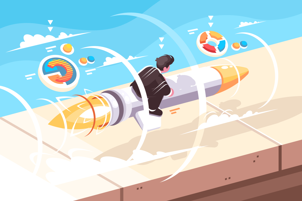 Businessman flying on rocket vector illustration. Beginning of new project and effective startup flat style design. Business concept. Sky on background