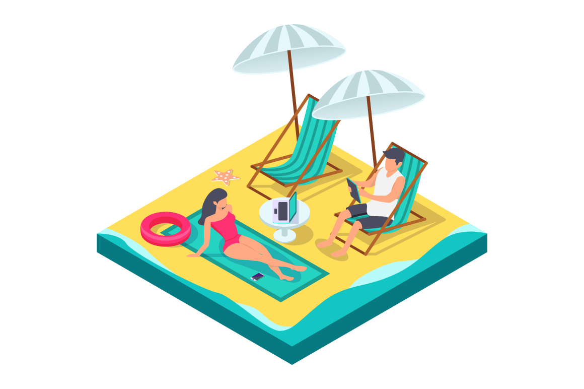 3d isometric man and woman couple with equipment on beach.