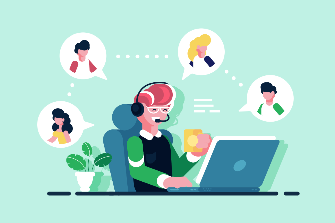 Online assistant working at office vector illustration. Smiling man sitting at workplace with cup of tea flat concept. Hotline operator with hands-free headset advises client. Technical support
