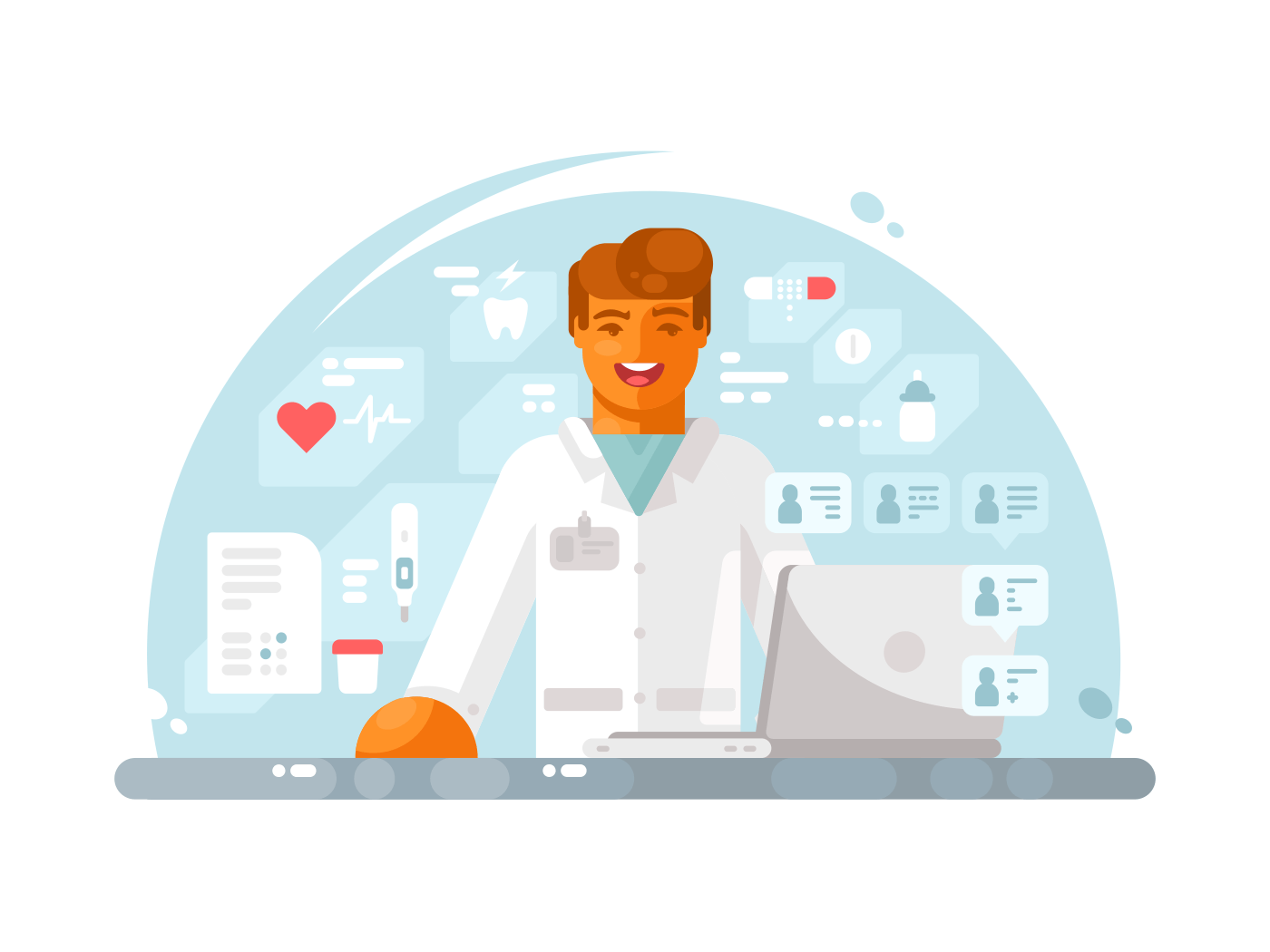 Online doctor consultation illustration
