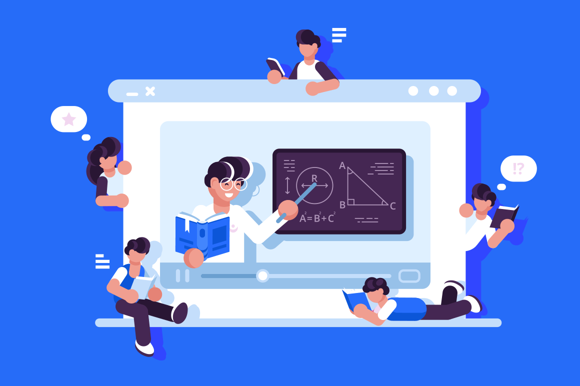 Online education and graduation vector illustration. Online teacher on laptop monitor explaining new material flat style design. Modern e-learning concept