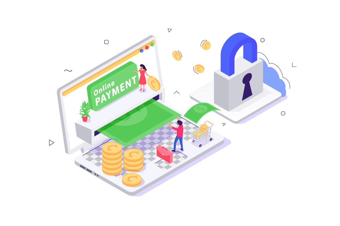 3d isometric online payment with security, young man and woman.