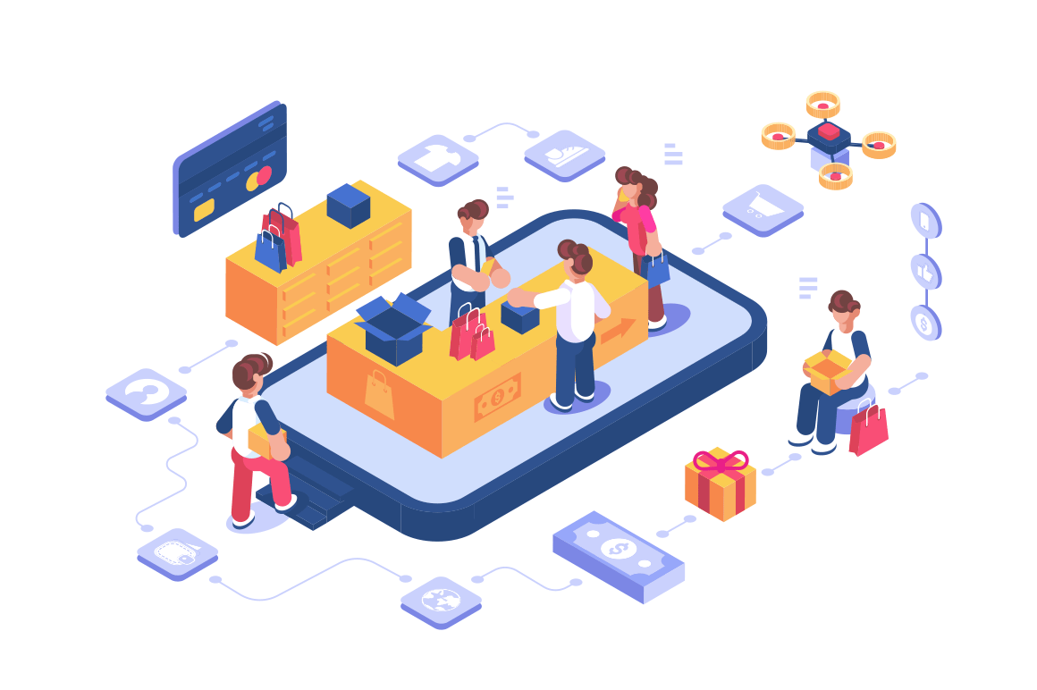 Online shopping store via internet app vector illustration. Cartoon people buying goods via mobile phone services and applications flat style concept. Mobile marketing and online shopping