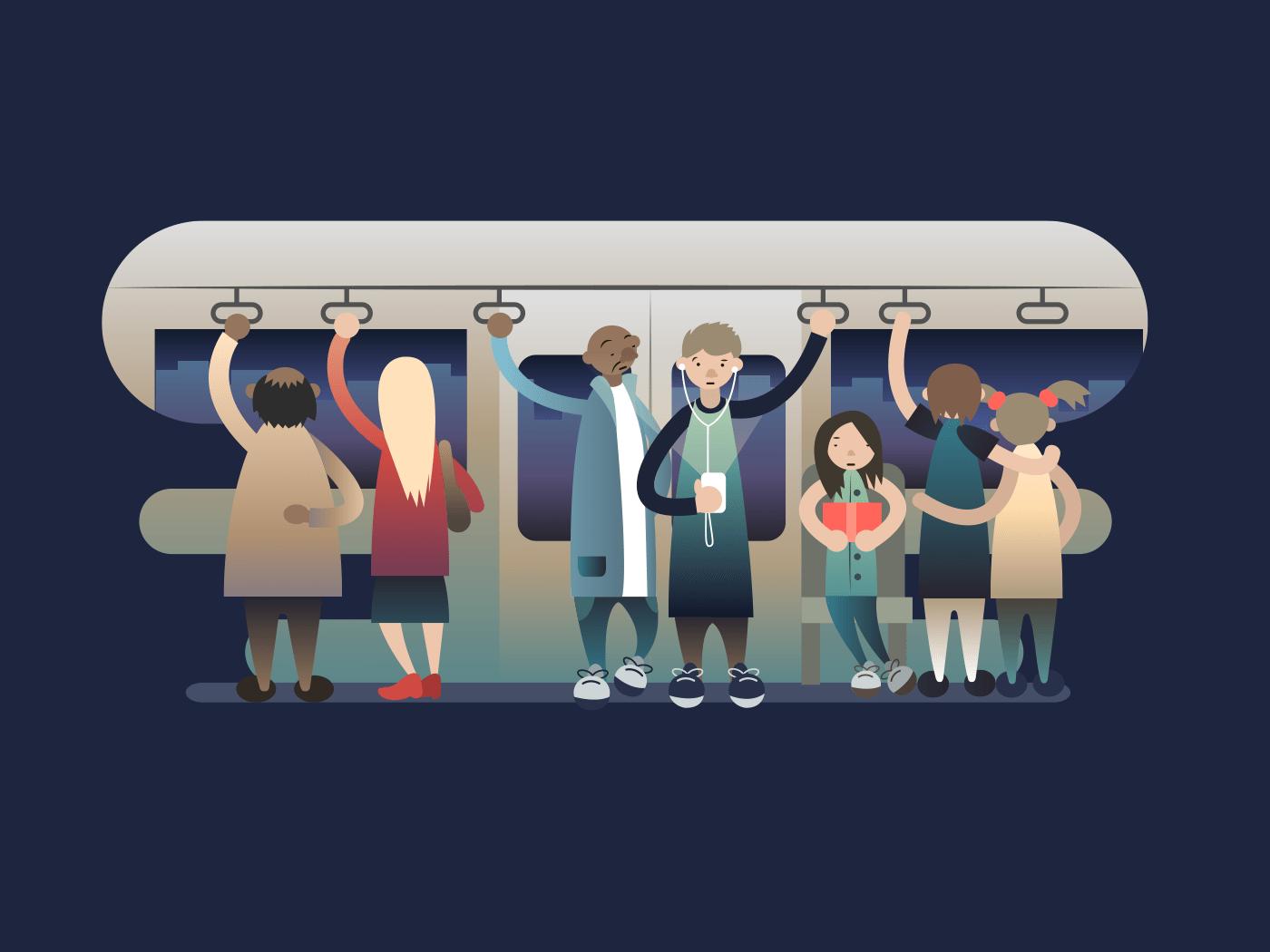 Onlookers passengers in trasport illustration