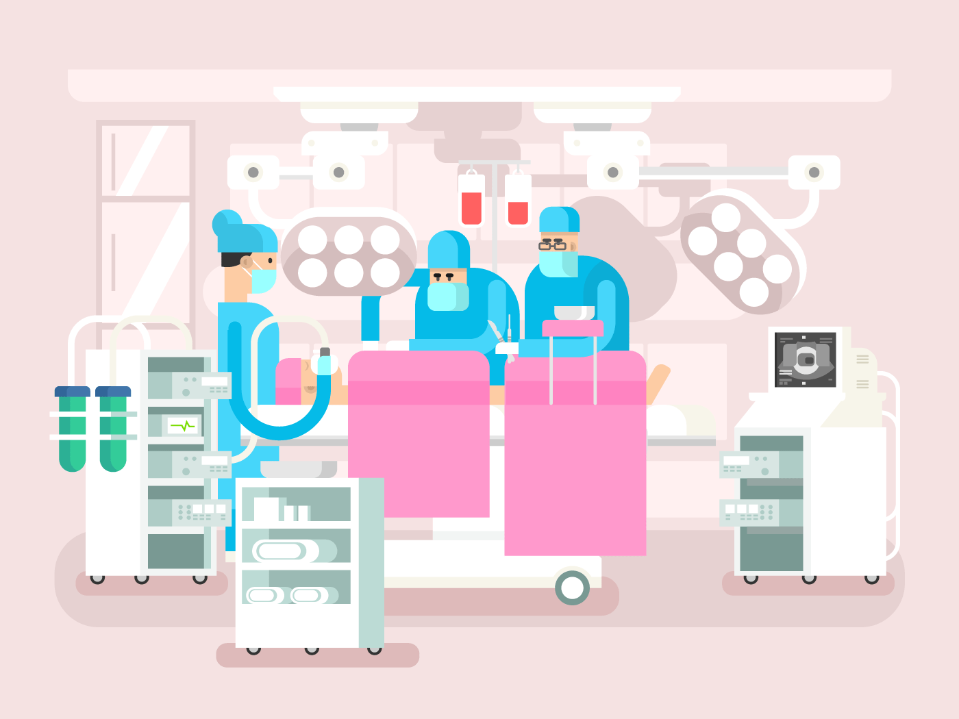 Operating room design flat vector illustration