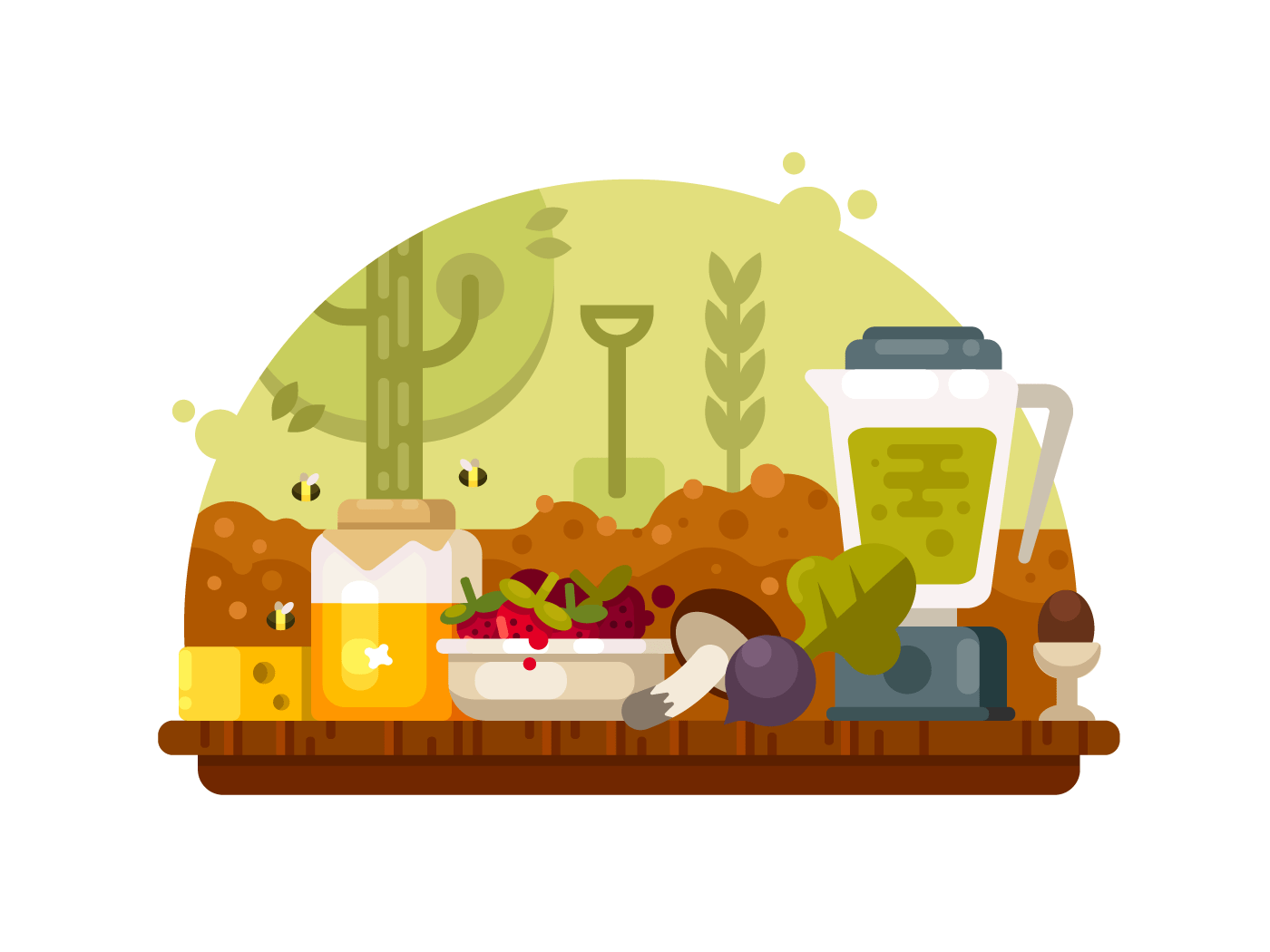 Organic food vegetables fruits illustration