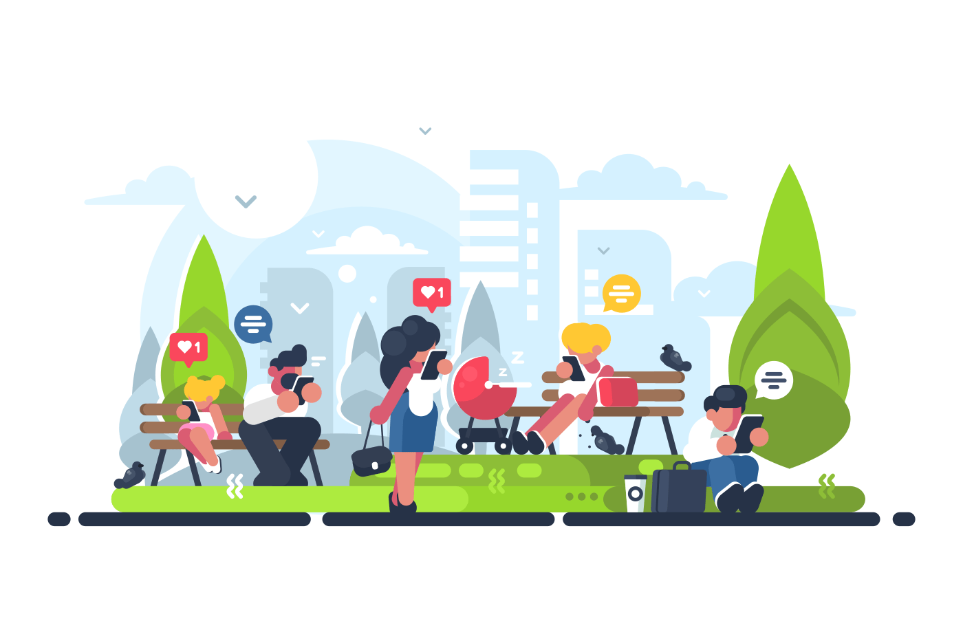 People in green park using gadget. Man and woman in social media. Vector illustration