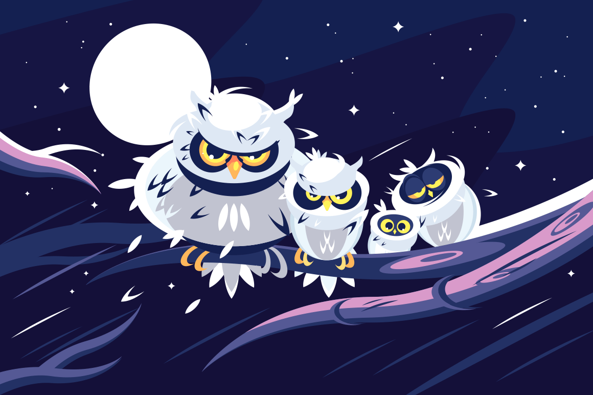 Owls sitting on branch in front of full moon. Darkness night background. Flat. Vector illustration.