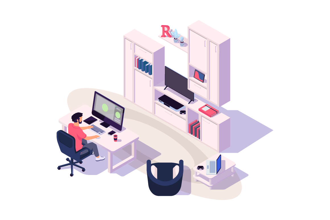 Isometric 3d cozy workplace with businessman at work with computer, tv and device.