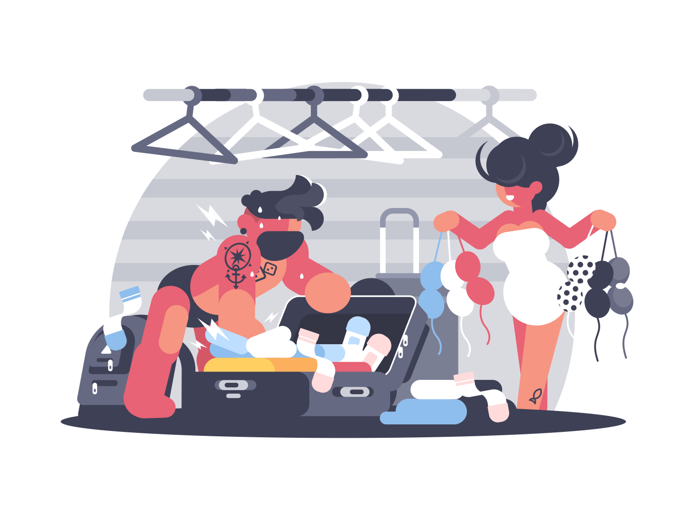 Couple man and woman packing suitcase on vacation. Vector illustration