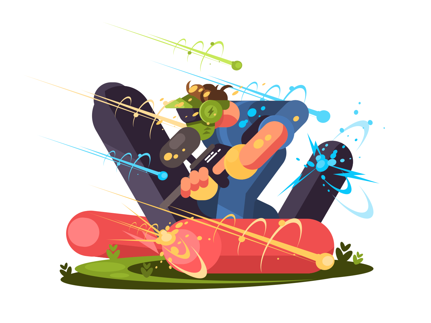 Guy with guns and wearing mask plays paintball. Vector illustration