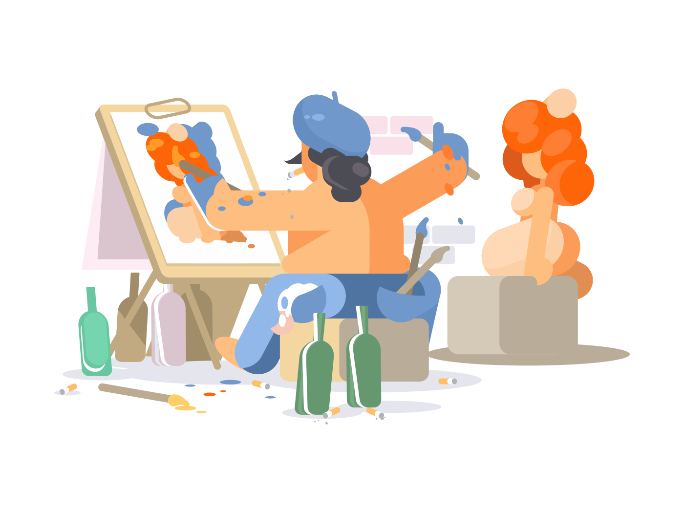 Painter draws naked girl illustration