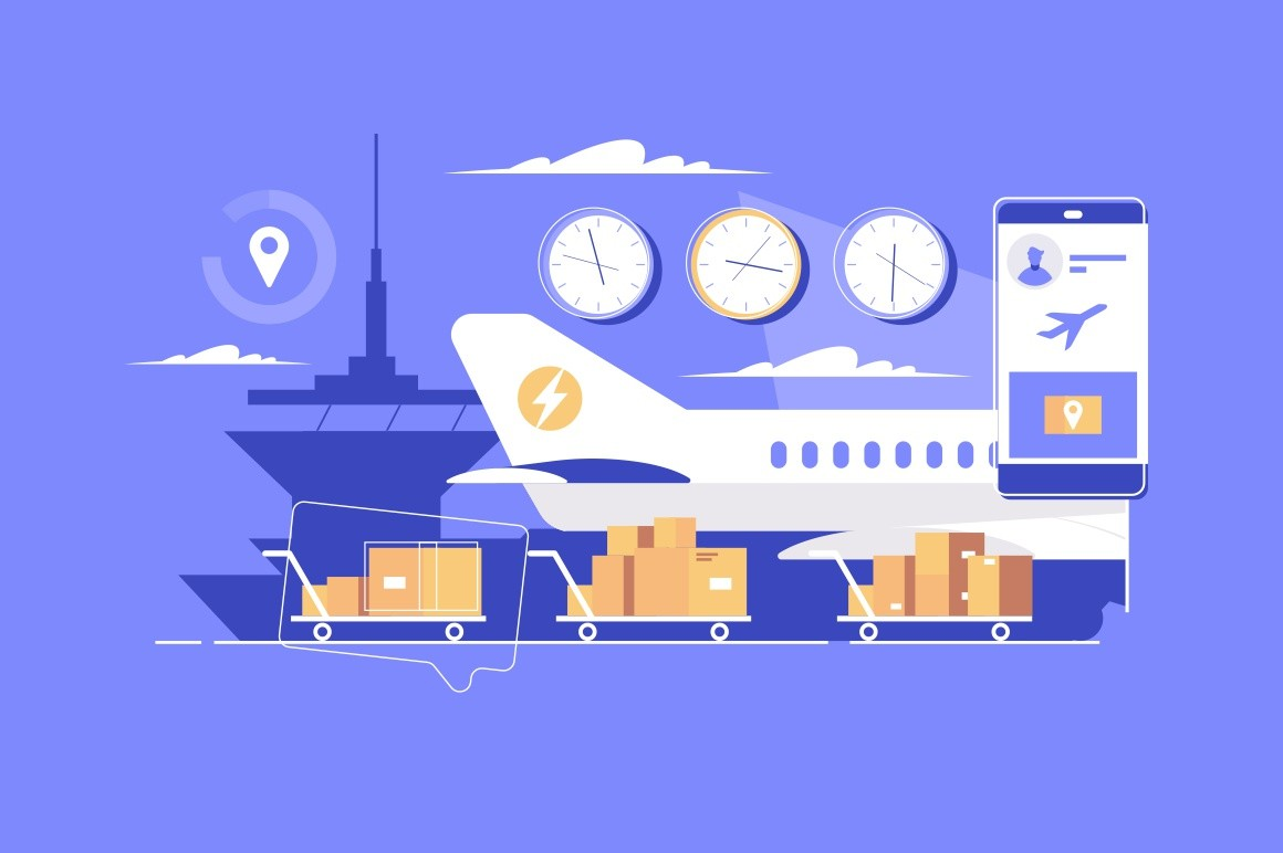 Modern parcel delivery vector illustration. Big cargo airplane shipping important cargo and cardboard boxes to internet users buying products and commodities on internet