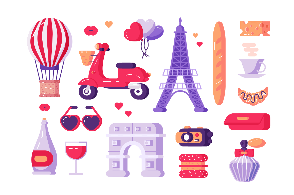 Paris famous symbols set vector illustration. Collection consists of travel landmark sightseeing entertainment traditional dishes and drinks flat style design. Travelling concept. Isolated on white