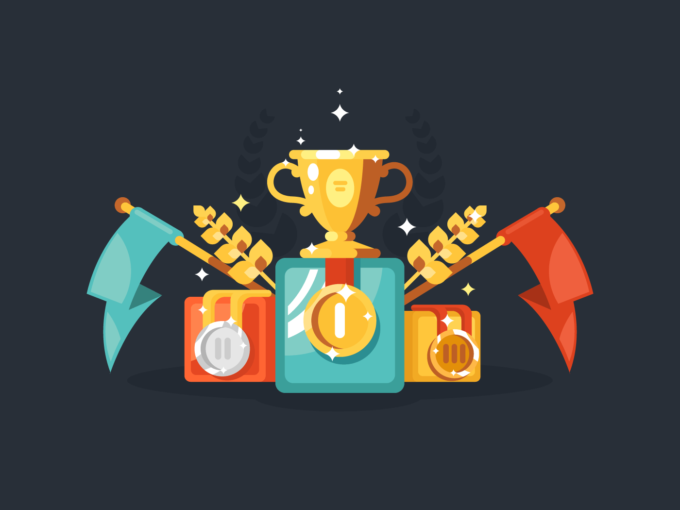 Pedestal with gold cup and medals flat vector illustration
