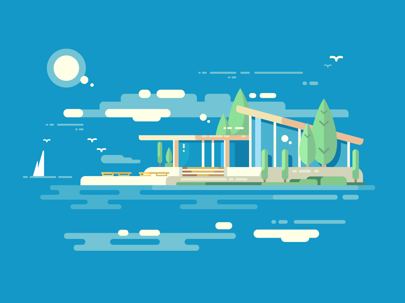 Modern house flat vector illustration