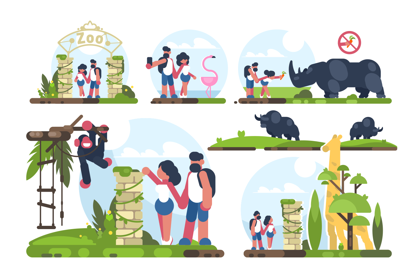 Couple of guy and girl walking in zoo. People and animals, vector illustration