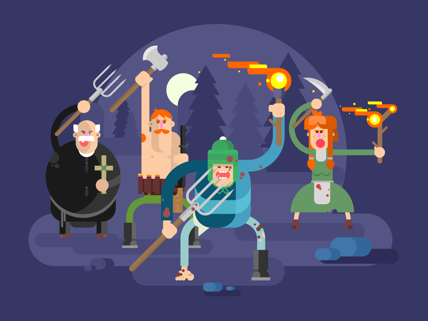 People with torches and pitchforks flat vector illustration