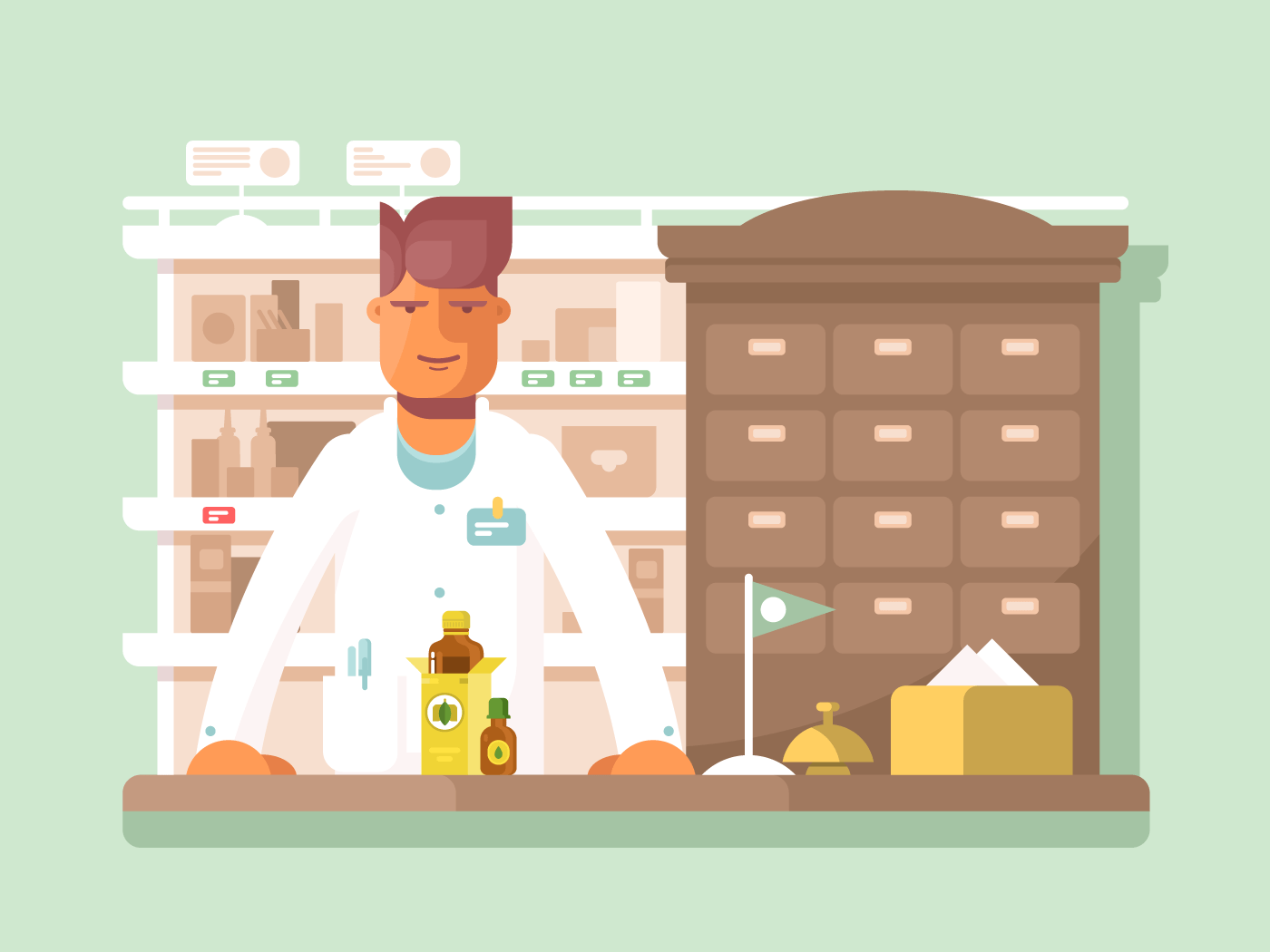 Pharmacist at the pharmacy flat vector illustration