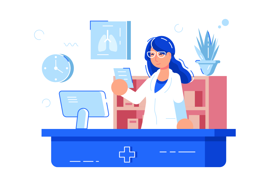 Woman pharmacist reading recipe vector illustration. Girl druggist in glasses and white uniform standing at workplace flat style concept. Pharmacy interior isolated