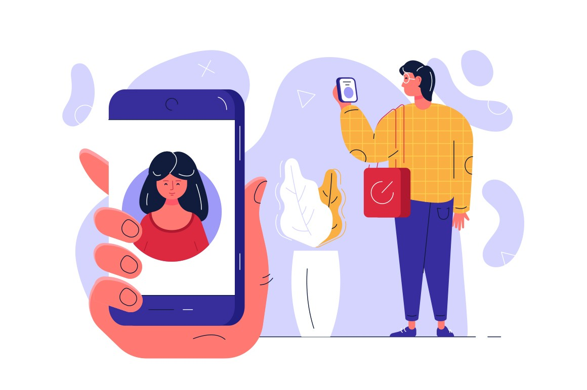 Man standing with modern smartphone vector illustration. Male hand holding cell phone. Girl account on screen flat style design. Social network concept