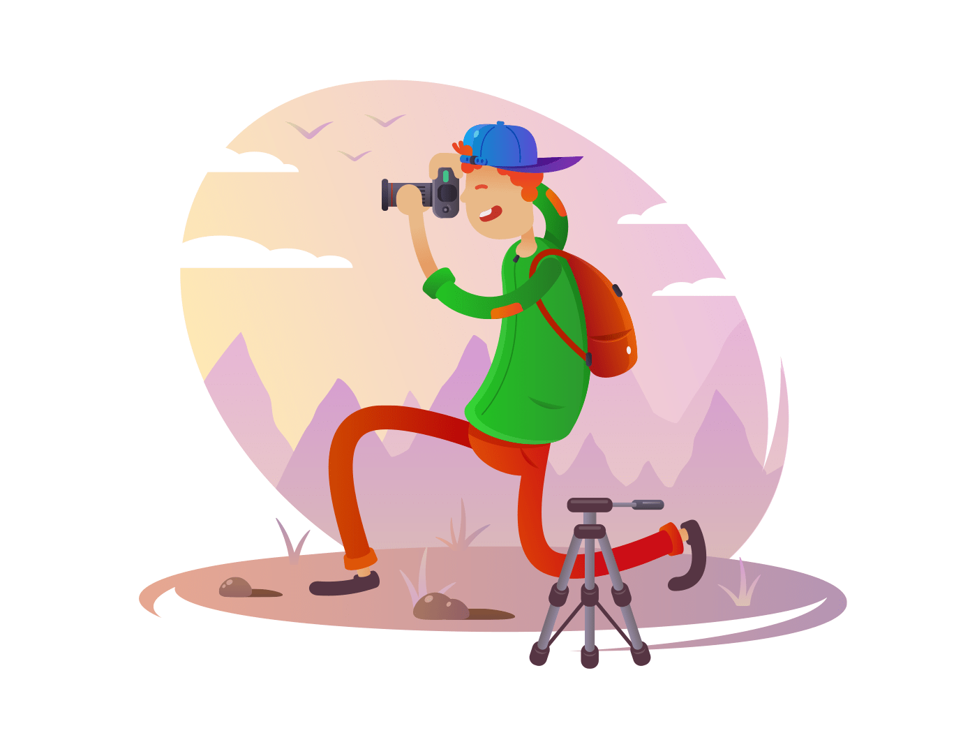 Guy with camera taking pictures