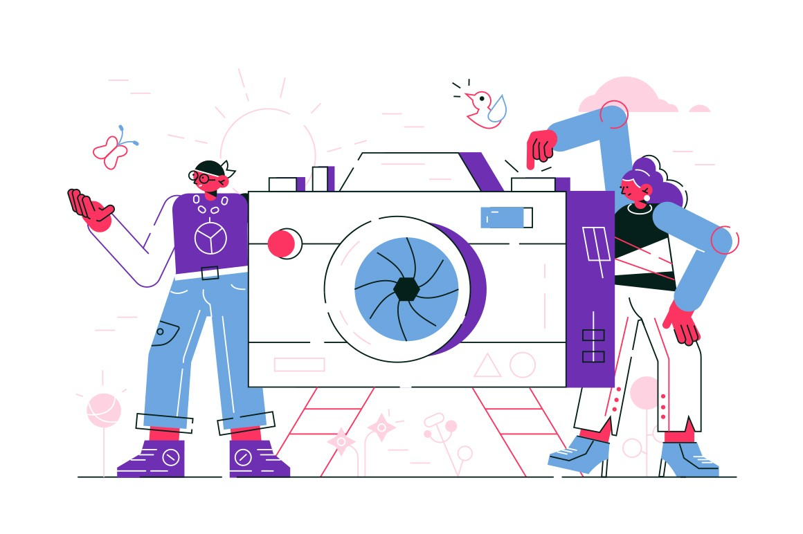 Man and woman taking photo vector illustration. People in casual clothes standing near big camera and press on button for making snapshot flat style concept